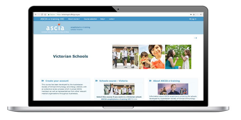ASCIA Victorian Schools e-training website