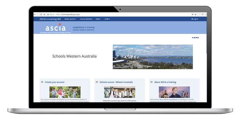 ASCIA WA Schools e-training website